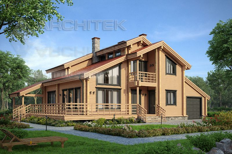 Projects of wooden houses with attic and garage